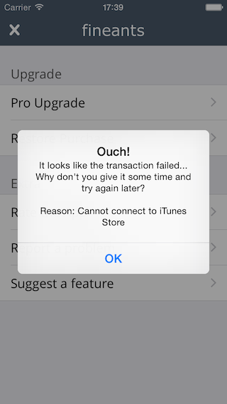 Cannot connect to iTunes Store error screenshot