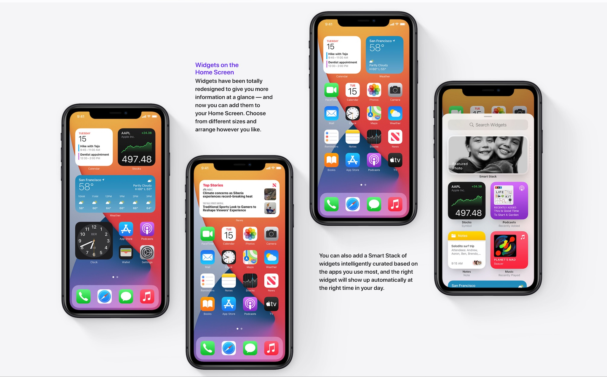 Widgets graphics from the Apple iOS 14 website
